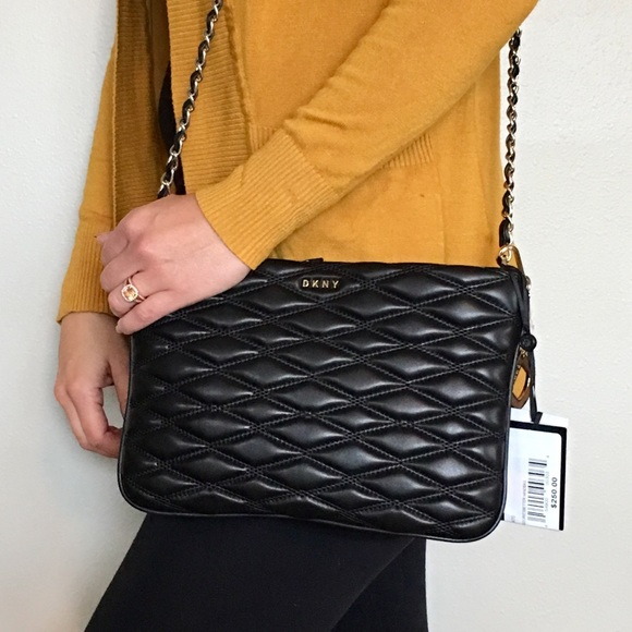 b4ae2c2b03c3aa DKNY Bags | Lara Black Quilted Napa Leather Crossbody | Poshmark